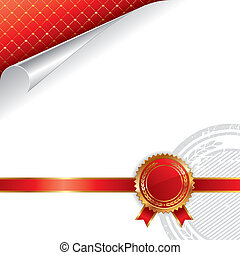 Golden & red royal design with seal of quality - vector illustration