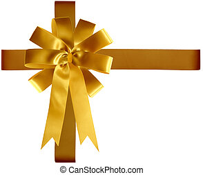 Golden satin ribbon and bow isolated on white