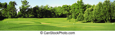 A panorama of a golf club field in France