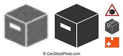 Goods Box Halftone and Solid Icon