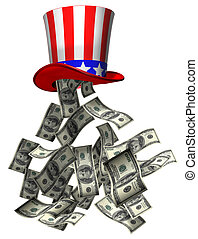 Isolated illustration of banknotes falling from Uncle Sam hat