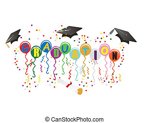 Balloons with Graduation on them, with mortarboard, diploma, streamers and confetti, to celebrate your great day!
