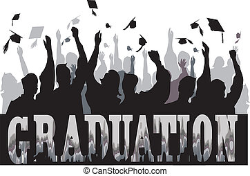 Graduation celebration stylized in silhouette