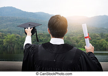 Graduation Student Commencement University Degree Concept, group of multiracial graduates holding diploma Celebration Education, Success Learning Concept.