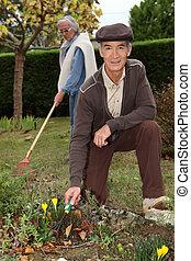 Grandparents gardening