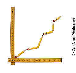 close up of used pencil and ruler shaping finance graph on white background with clipping path