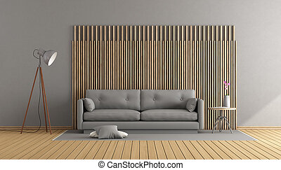 Gray and wooden living room
