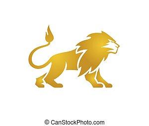 Great Golden Lion Standing Lion Standing Vector