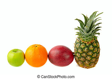 green apple orange, pineapple and mango