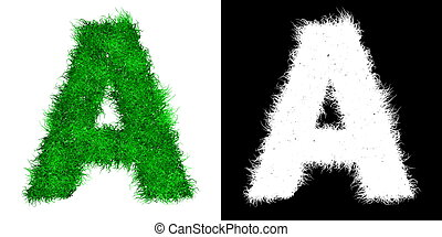Green Capital Letter A made of Grass - with Alpha Mask