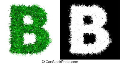 Green Capital Letter B made of Grass - with Alpha Mask