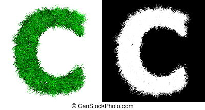 Green Capital Letter C made of Grass - with Alpha Mask