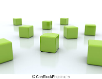 Green cubes isolated on white