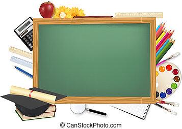 Green desk with school supplies. Vector.