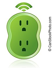 Green Eco Smart Power Outlet Icon