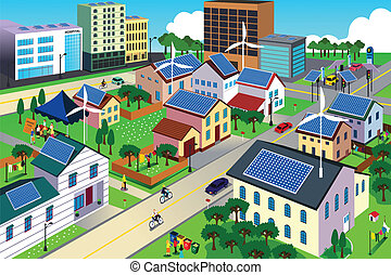 A vector illustration of city scene where the residents are very conscious about their environment and going green concept