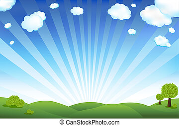 Beautiful Landscape With Trees And Clouds, Vector Illustration