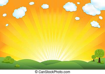 Green Field And Sunrise Sky, Vector Illustration