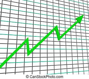 Green Graph Showing Profit Line Increase Achievement Progress