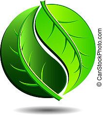 Green logo concept using Yin Yang in a leaf design