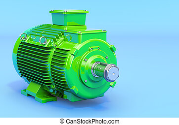 Green industrial electric motor, 3D rendering