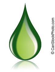Green Oil Drop Bio Fuel Icon
