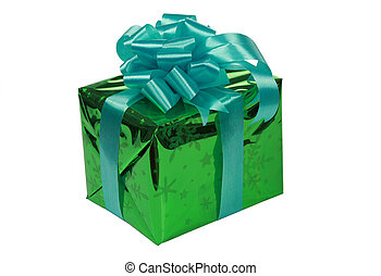 Green present with blue ribbons