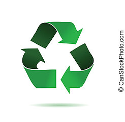 Green recycling logo over a white background. illustration design