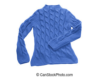blue sweater with pattern (contains clipping path)