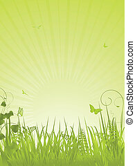 Speckled Easter eggs on a green spring background with butterflies and ferns