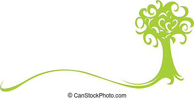 Abstract green tree isolated on white background