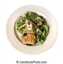 Salmon with shrip, asparagus and spinach
