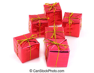 group of christmas gifts on white