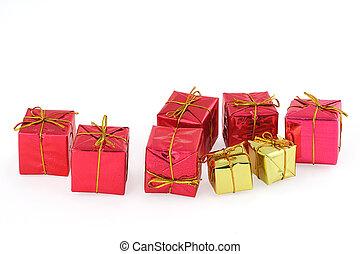 group of christmas presents