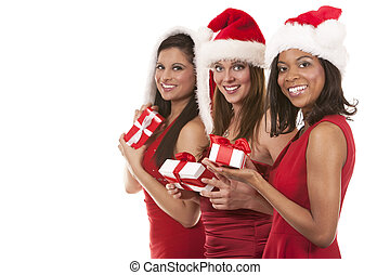 group of christmas women