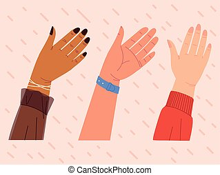 group of hands up