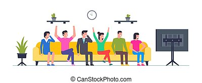 Group of happy people watching TV