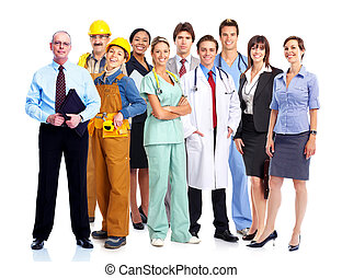 Group of industrial workers. Business team. Isolated over white background.