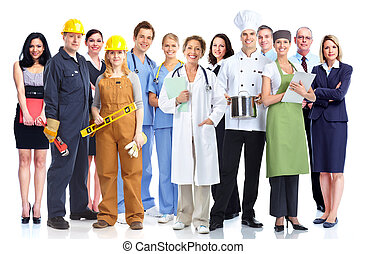 Group of industrial workers. Isolated on white background.