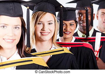group of international graduates closeup