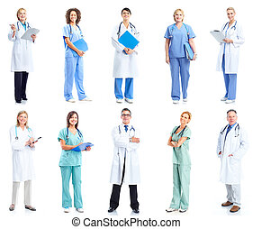 Group of medical doctors. Health care. Isolated on white background.