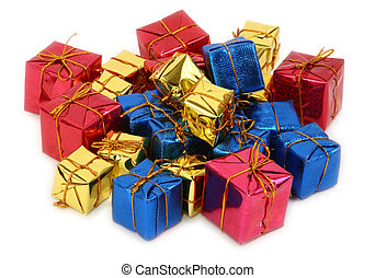 group of multicolored gifts