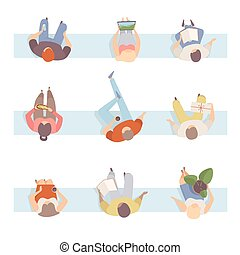 Group Of People In Some Action Sitting On The Bench Flat Vector Illustration Set