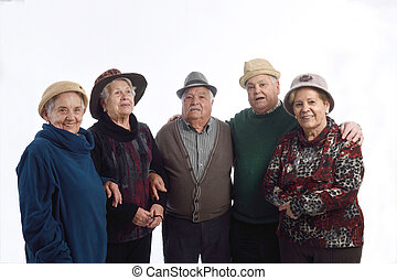 Group of senior people with hat