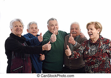 Group of senior people with ok sign