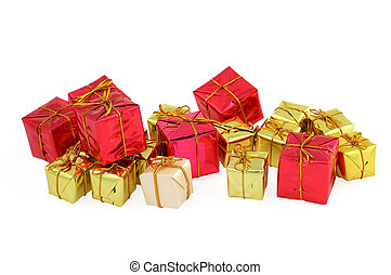 group of various christmas gifts on white