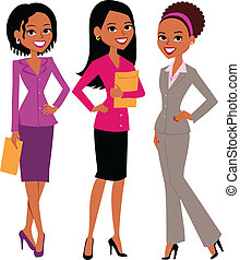 Illustration of group of three women wearing professional attire, business suit and skirt, very career oriented. They make great avatars.