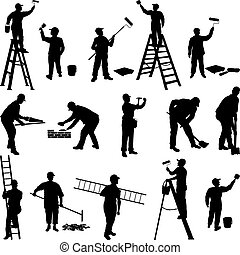 Group of workers silhouettes