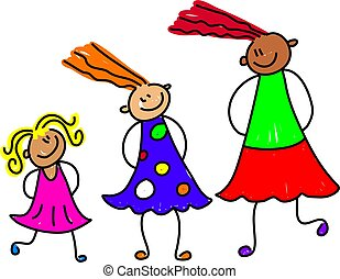 happy and diverse group of girls at different stages of growth - toddler art series