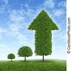 Growing Investment and financial success with long term conservative money planning and wealth management with an investing strategy represented by a young tree growing to a huge plant with an arrow pointing up.